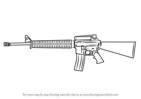 Learn How To Draw A M16 Rifle (rifles) Step By Step