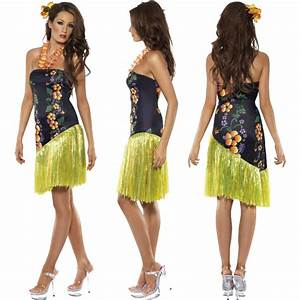 Ladies Hawaiian Fancy Dress Costume Mens Hula Summer Beach ...