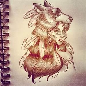 Native American Wolf Girl Tattoo Design