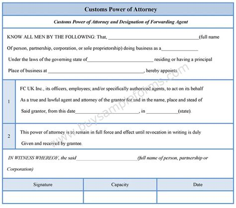 customs power  attorney form sample forms