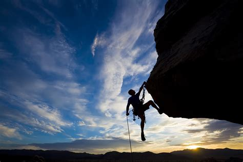 Sports Climber Extreme Silhouette Climbing Rock