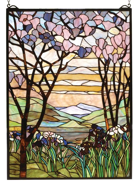 Meyda 98589 Tiffany Magnolia Iris Stained Glass Window