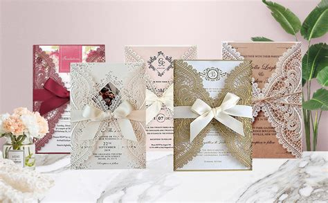 25 Set Laser Cut Wedding Invitations with Ribbon Bow