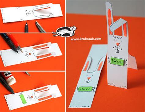 krokotak paper bunny bookmark