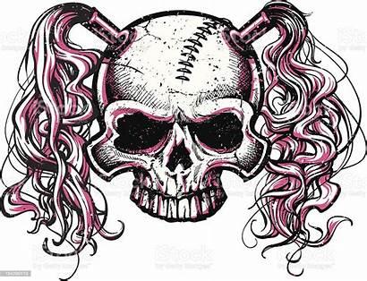 Skull Pink Pig Tails Vector Roller Hair