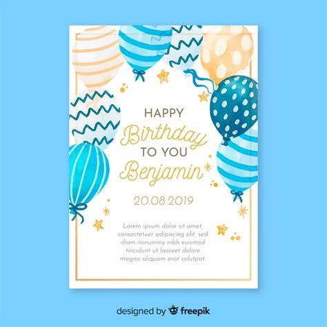 Watercolor birthday invitation card template Vector Free