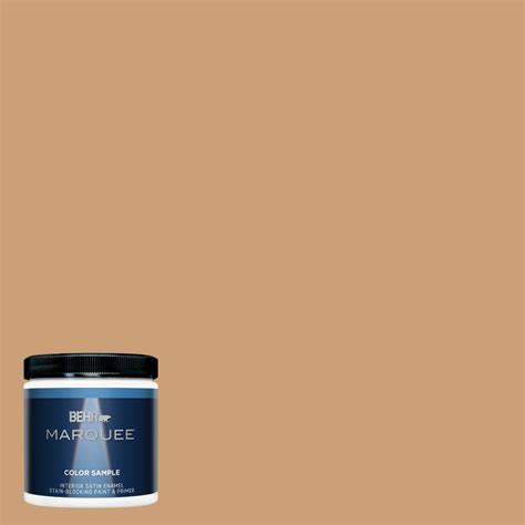 behr marquee 8 oz icc 62 pumpkin butter satin enamel interior exterior paint and primer in one