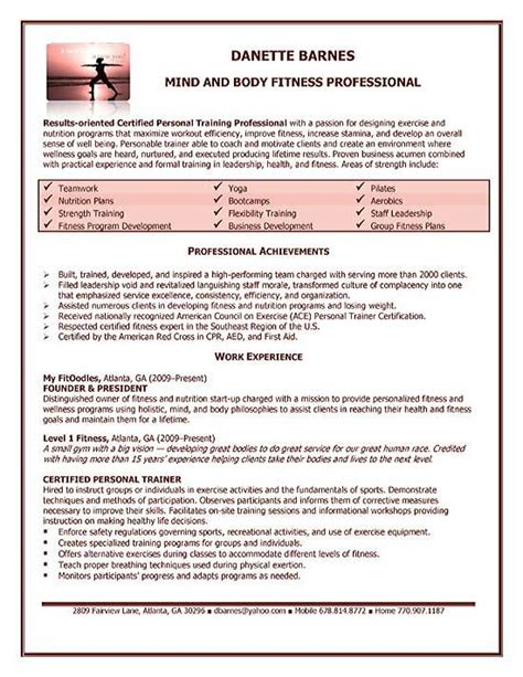 personal trainer resume examples job resume examples