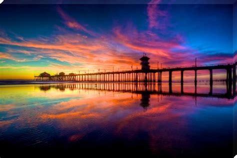 vivid sunset  surf city usa sunset prints  btang