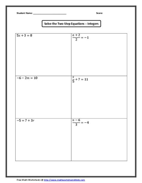 worksheets two step equations with integers worksheet