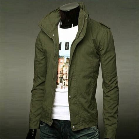 Mens Olive Green Military Jacket - Oasis amor Fashion