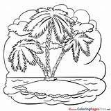 Palm Tree Island Printable Colouring Coloring Sheet Sheets Title sketch template
