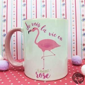Mug Flamant Rose : mug je vois la vie en flamant rose chez kas design ~ Teatrodelosmanantiales.com Idées de Décoration