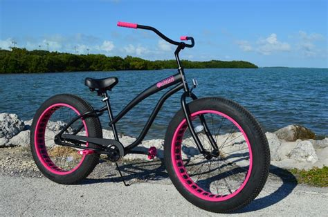 Ladies Flat Black W Pink Fat Tire Cruiser , Custom Ladies