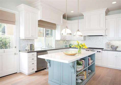 white kitchen  turquoise blue island cottage kitchen