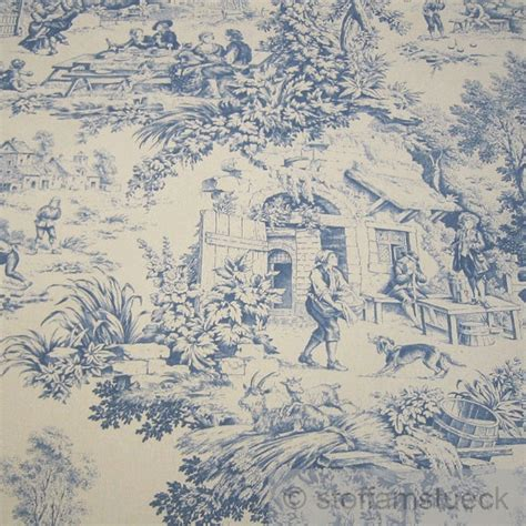 fabric pure cotton rib beige toile de jouy village blue