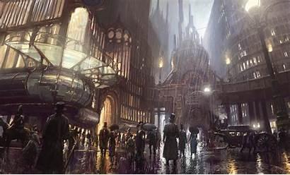 Concept Fantasy Steampunk Artwork Cityscape Night Cathedral