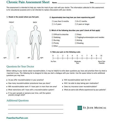 Comprehensive Health Assessment Program Template by Chronic Pain Assessment Template Medtalk