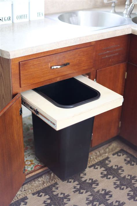convert kitchen cabinet to pull out convert a cabinet into a pull out trash bin a beautiful
