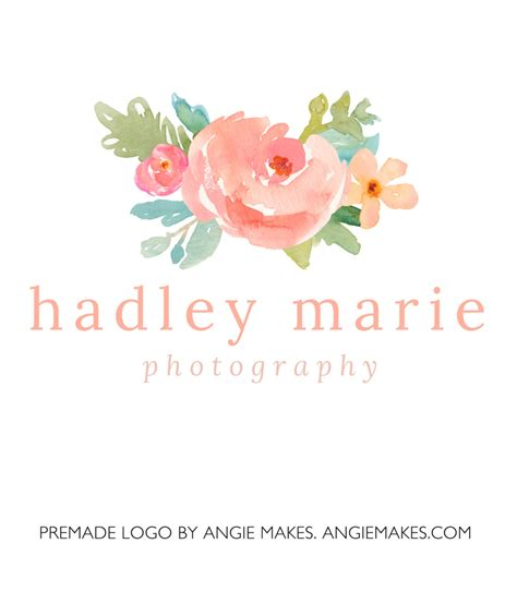 premade watercolor flower logo