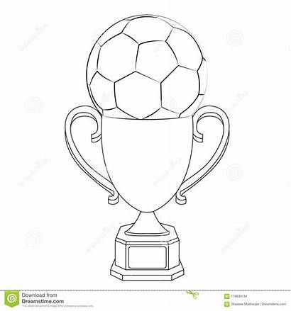 Trophy Coloring Football Vector Cup Illustration Pages