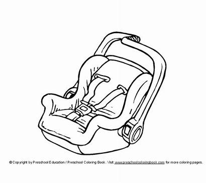 Carseat Seats Coloring Seat Pages Drawing Items