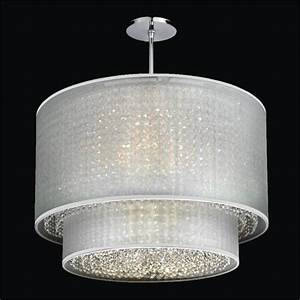 Double drum shaded crystal pendant chandelier duet