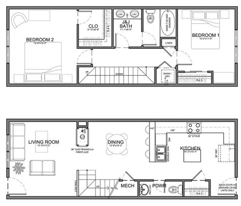 1 Bedroom Unit Layout by Narrow 13 Residential Unit Home Tiny Cottage
