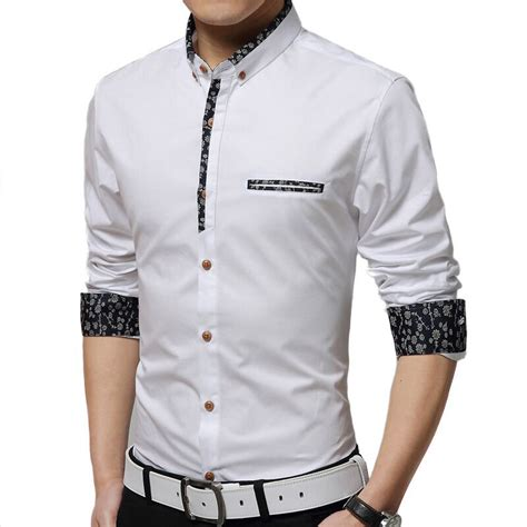 shirt men   men slim casual long sleeved shirt