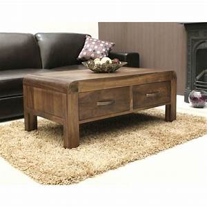 Shiro coffee table four drawer storage solid walnut dark for Dark wood coffee table with storage