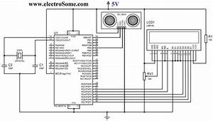 Interfacing hc sr04 ultrasonic sensor with pic microcontroller for Ultrasonic range finder using 8051 electronic circuits and diagram