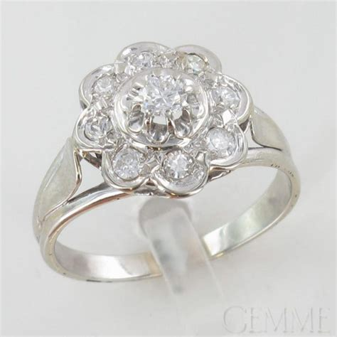 bague marguerite or blanc diamant taille moderne