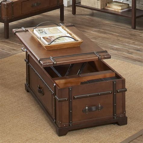 bronze table ls for living room antique trunk lift top coffee table with bronze panel and