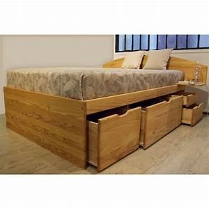 Lit 120x190 Avec Tiroir : lit avec tiroirs de rangement massako 460 ~ Teatrodelosmanantiales.com Idées de Décoration