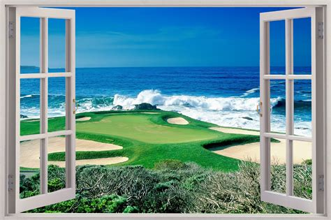 3d Window Ocean View Blue Sea Home Decor Wall Sticker: Huge 3D Window Golf Fairway Ocean View Wall Sticker Mural