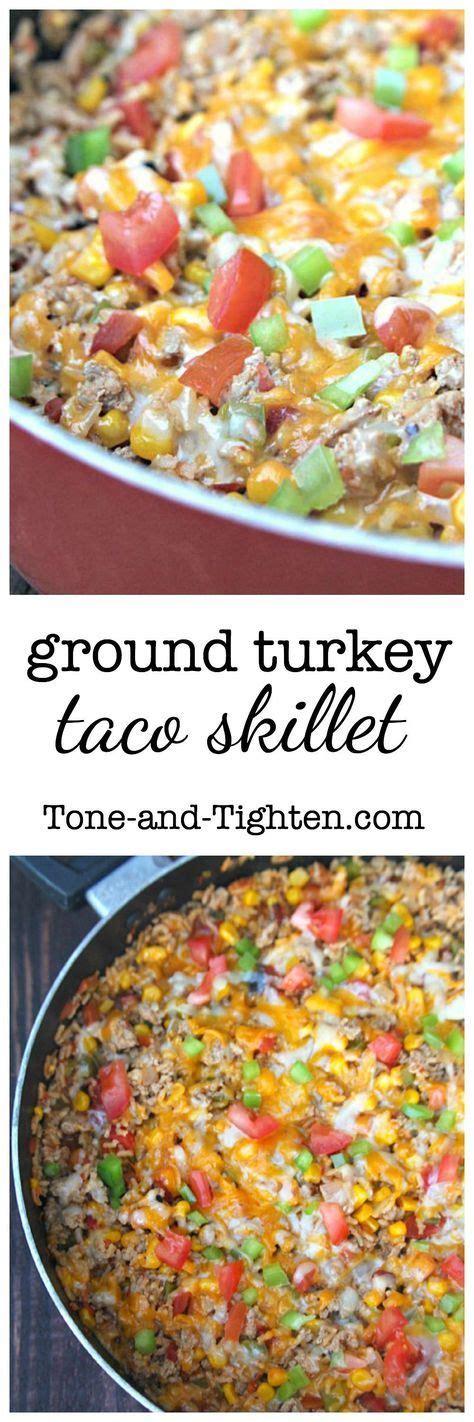 Preheat oven to 350 degrees f. Ground Turkey Taco Skillet (with Rice) | Recipe | Ground turkey tacos, Ground turkey recipes ...