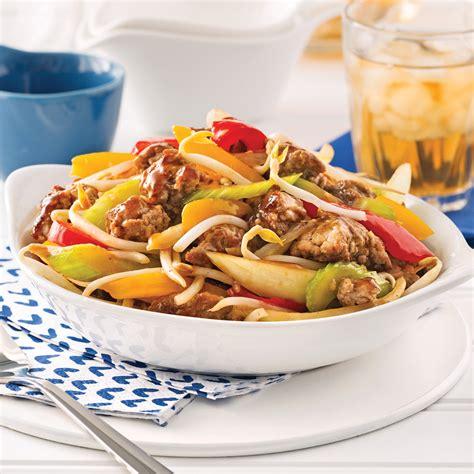 recette cuisine porc chop suey au porc haché recettes cuisine et nutrition