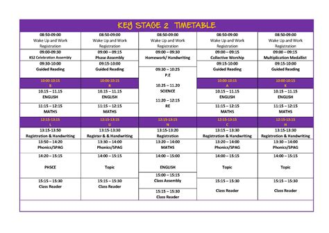 Keystage2timetable  Princeville Primary School