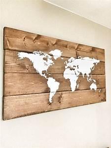 Carte Du Monde Deco Murale : rustic wood world map rustic decor farmhouse decor ~ Dailycaller-alerts.com Idées de Décoration