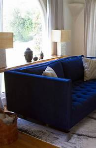 Victoria braden39s contemporary family home blue for Contemporary velvet sectional sofa