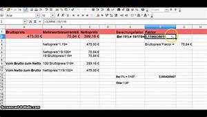 Mehrwertsteuer Berechnen Excel : umsatzsteuer korrekt berechnen mit einfachen formeln youtube ~ Themetempest.com Abrechnung