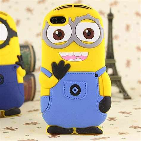 free shipping 3d despicable me silicone back cover for apple iphone 5c 3d minion
