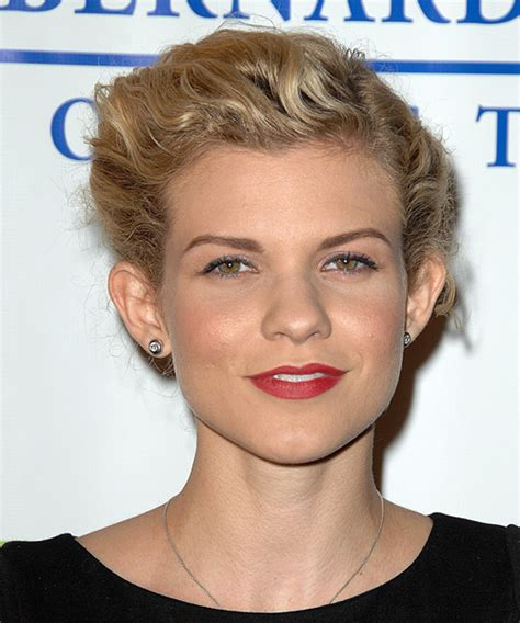 angel mccord casual long curly updo hairstyle blonde