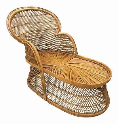 Chaise Rattan Peacock Lounge Wicker Bohemian Chairish