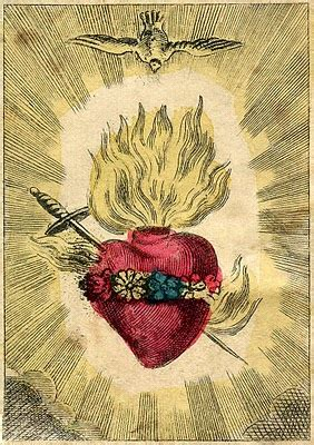 antique graphic amazing french holy card sacred heart