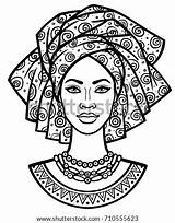 African Woman Turban Vector Portrait Coloring Animation Young Drawing Africaine Africanas Africa Linear Femme Drawings Jeune Monochrome Shutterstock Dessin Draw sketch template