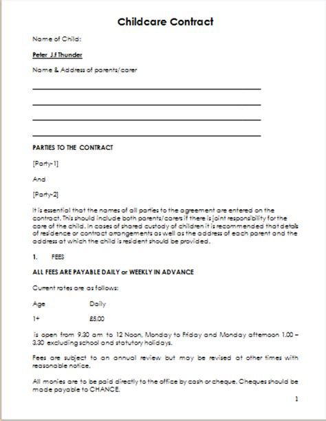child care contract template  ms word document hub