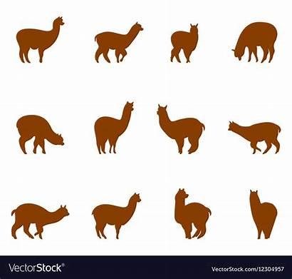 Alpaca Llams Vector Emblems Silhouette Clipart Illustration
