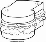 Clipart Picnic Sandwich Bag Chip Potato Preschool Homemade Bw sketch template