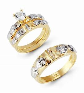 Diamond wedding ring sets for bride and groom bridal sets for Wedding ring sets gold